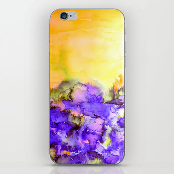 INTO ETERNITY, YELLOW AND LAVENDER PURPLE Colorful Watercolor Painting Abstract Art Floral Landscape iPhone & iPod Skin by EbiEmporium