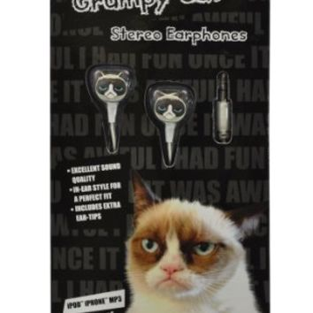 Grumpy Cat GC-EP-01 In-Ear Molded Stereo Earphones for MP3 Players, iPods and iPhones, Multicolored