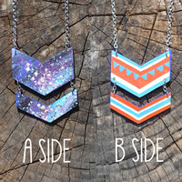 Reversible Chevron Necklace, Cosmic Galaxy / Red & Blue Folk Print