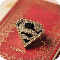 2012 new fashion design Punk Fashion Triangle S Rhinestone Cocktail Ring 1pcs