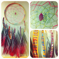 ISLAND TIME palm frond dream catcher with neon web, pink agate and painted pods, FREE shipping