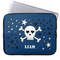 Personalizeable Blue Cute Skull and Crossbones