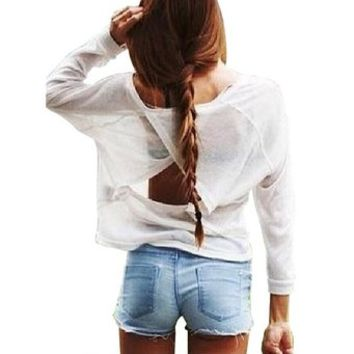 LookbookStore Fashion Women's White Cutout Back Loose Fit Long Sleeved Shirts