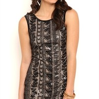 TANK BODYCON DRESS WITH AZTEC SEQUIN PATTERN