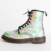 Size 7 Vintage 90s Dr Martens Rainbow Glitter Canvas Lace Up Boots 37