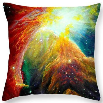 DECORATIVE THROW PILLOW 14 x14 Orion Nebula Nasa Space Painting Red Blue Orange Magical Bright Abstract Acrylic Painting Decor
