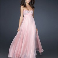 Chiffon A-line Strapless Beaded Sweetheart Open Back Floor Length Prom Dress PD2162 Dresses UK