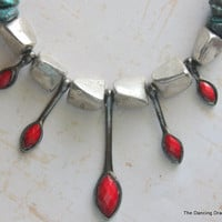 Fancy Casual Turquoise and Red Necklace