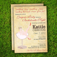 Vintage Retro Cute Bridal Shower / Hens  Night / Bachelorette Party / Birthday / Party Invitation Card - DIY Printable