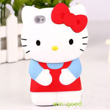 3D Back Case Cute Hot Lady Hellokitty Girl Cover Hard For Apple Iphone 4 4G 4s