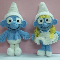 "Smurf and Smurfette 9.8"" - Finished Handmade Amigurumi Les Schtroumpfs crochet doll Home decor birthday gift Baby shower toy"
