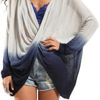 Twist Front Ombre Sweater in Blue