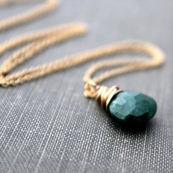 Emerald Necklace 14K Gold Fill or Rose Gold, Genuine Emerald, May Birthstone, Spring Green Fashion