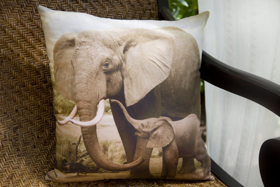 African elephant throw pillow handmade from penumbraimages on Elephant home decor items