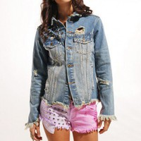 Reverse Circle Stud Dyed Shorts in Purple/Pink