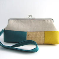Wristlet frame clutch- stripe patchwork- teal yellow