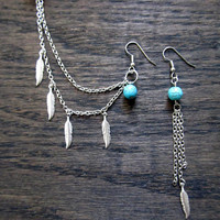 Silver feather and turquoise ear cuff set, double ear cuff earring