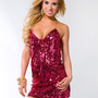 Fuchsia Sequin Mini Dress with Chain Straps &lt; Sexy Dresses | Flirt Catalog