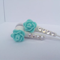 Very Pretty Robin&#x27;s Egg blue Rose Earbuds with Swarovski crystals