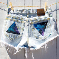 high waisted or low waisted geometry print galaxy shorts