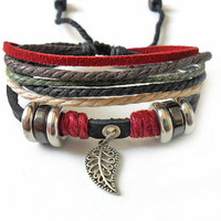 Adjustable leather bracelet men bracelet women bracelet buckle bracelet made of  leather ropes and metal leaves wrist bracelet SH-1294