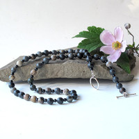 Beaded stone necklace - Gray &amp; black gemstone beads