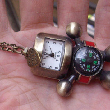 compass robot pocket watch and little heart necklace