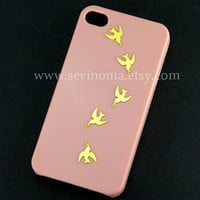 iphone 4 case, iphone 4s case, Dove of peace iphone case, flying dove iphone 4 case, peach iphone 4 case, iphone 4s case
