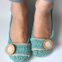 Crochet Womens Slippers, Ballet Flats, House Shoes - Robin's Egg & Linen - Made to Order