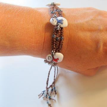 Snow day macrame bracelet by handmadefuzzy on Zibbet