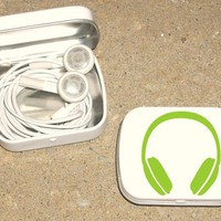 Tin ipod earbud tin white metal hinged tin 80's Headphone design - Green