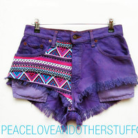 Vintage Purple Tribal Print High Waisted Denim Shorts