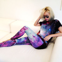 New hot  items leggings women fashion galaxy planet print