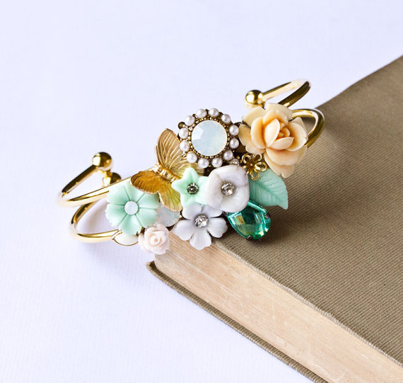 Cuff Bracelet Teal Mint and SeaFoam green Vintage by lonkoosh