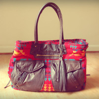 Navajo print and leather Pendleton weekender tote