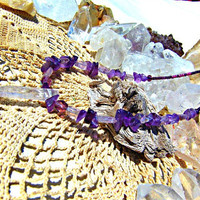 Amethyst Stone Necklace Beaded Necklace Crystal Chakra Jewelry