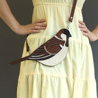 Leather Sparrow Clutch Bag by broundoor on Etsy