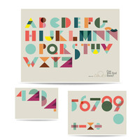 Puzzle set of prints Geometric ABC and Numbers, geometrics forms, composition