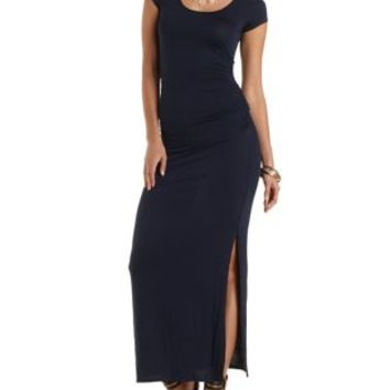 Ruched Maxi T-Shirt Dress by Charlotte Russe - Navy