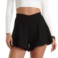 Textured Knit High-Waisted Shorts by Charlotte Russe - Black