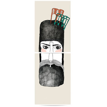 Puzzle prints set 'The bearded lady'. Men and woman prints. Composition.