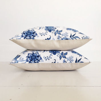 China blue floral & natural linen cushion cover - designer cushion 50 x 50 cm - FREE SHIPPING Australia wide