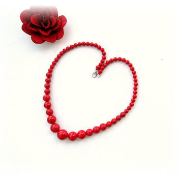 Red Coral Necklace - Gemstone Necklace - Choker - Round Beads Necklace - Red Necklace - Christmas Gift