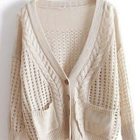 Beige V Neck Long Sleeve Hollow Pockets Sweater - Sheinside.com