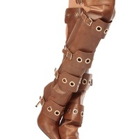 Cognac Faux Leather Ring Detailed Pointed Toe Thigh High Boots @ Cicihot Boots Catalog:women's winter boots,leather thigh high boots,black platform knee high boots,over the knee boots,Go Go boots,cowgirl boots,gladiator boots,skirt boots.