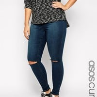 ASOS CURVE Rivington High Waist Denim Jeggings in London Blue with Rip