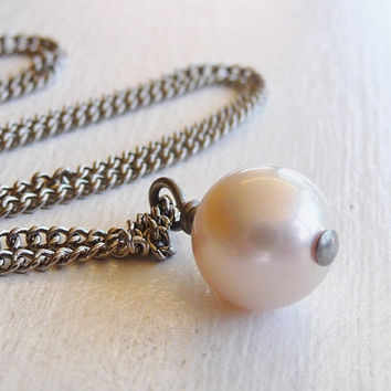 Nickel Free Pink Pearl Necklace Niobium Wire Wrapped Pale Pink Freshwater Pearl on Titanium Necklace for Sensitive Skin, Hypoallergenic
