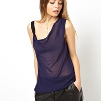 ASOS Vest with Asymmetric Strap and Drape Neck at asos.com