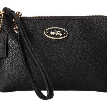 COACH Refined Grain Leather Small Wristlet Light/Black - Zappos.com Free Shipping BOTH Ways