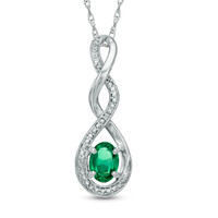Oval Lab-Created Emerald and Diamond Accent Infinity Twist Pendant in Sterling Silver